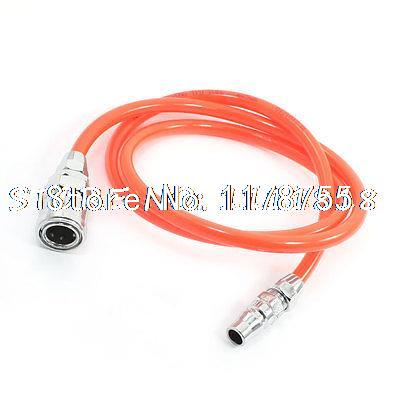 12.5mm Fittings Orangered Air Compressor 8x5mm Flexible PU Tubing Hose 3.3Ft 12 5mm dia quick fittings blue 8x5mm air compressor pu tubing hose 3 3ft