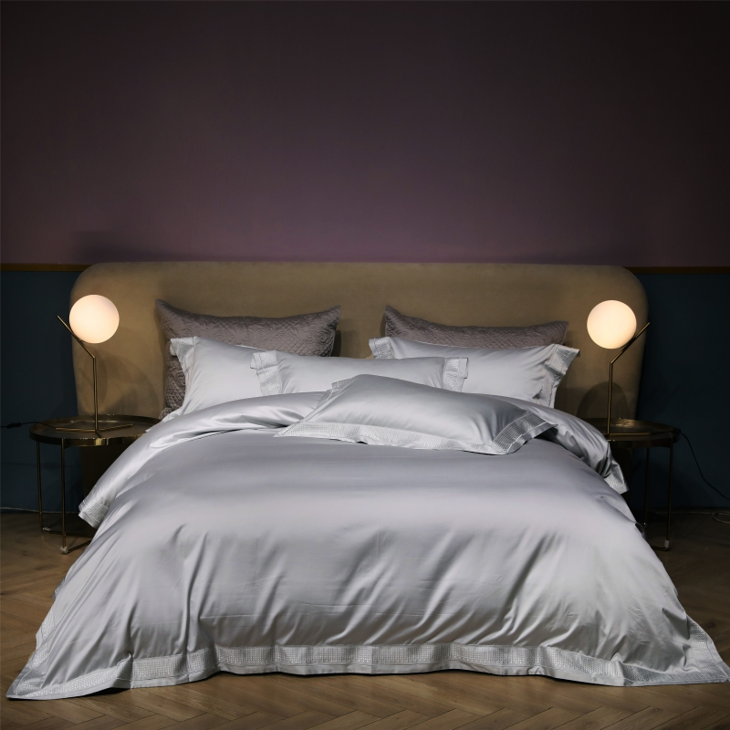 Gray 1000TC Egyptian Cotton Queen size King Bedding Set Luxury embroidery Bed set bedlinen Bed Sheet