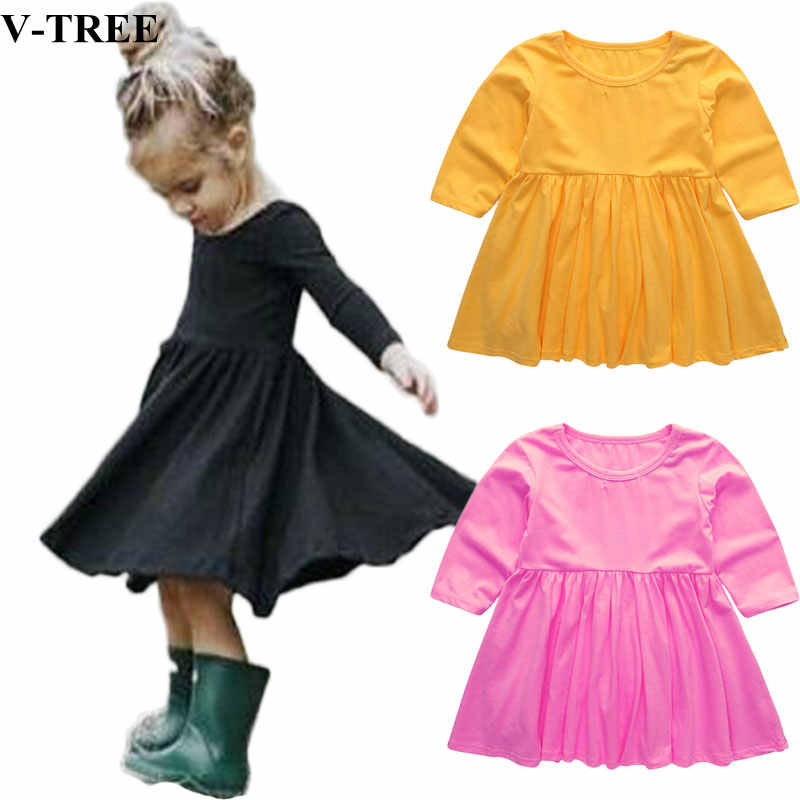 a28b898f887b8 V-TREE Girls Dress Long Sleeve Kids Tops For Girls Cotton Baby Dresses  Solid Color Children Princess Dress