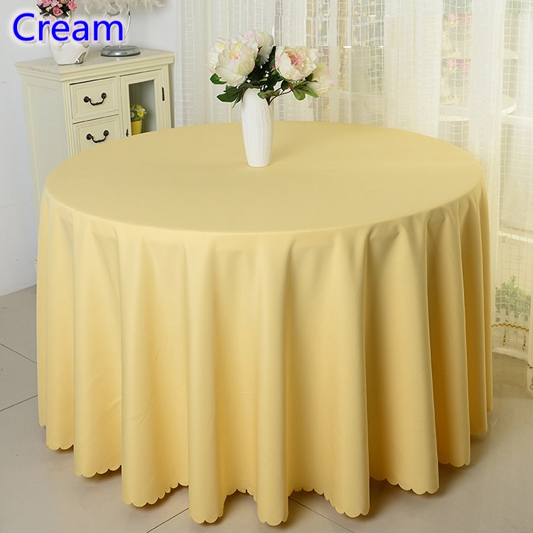 Cream colour table cloth,polyester table cover,for wedding,hotel and restaurant round tables decoration,200GSM thick material