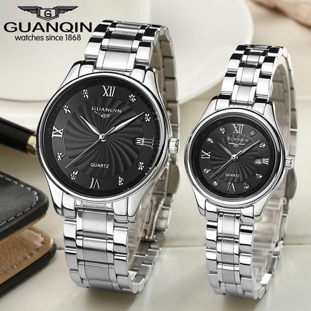 Famosa Marca de Topo GUANQIN Amantes relógios de Pulso de Quartzo Moda Casual Relógios Completa de Aço Inoxidável À Prova D' Água Relógios Par