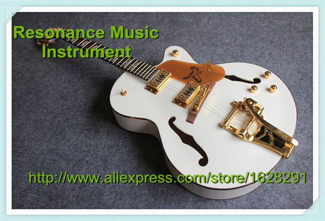 Best China G6136 White Electric Guitar Hollow Binding Guitarra Body With Golden Bigsby and Pickguard In Stock