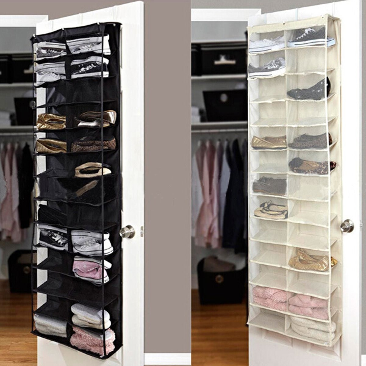 Shoe Rack Door Wall Hanging Shelf Bag Shoes Stand Holder Home Living Room Storage Organizer 26
