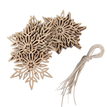 10pcs Wooden Embellishments with String Christmas Decoration Snowflake Pattern Pendant
