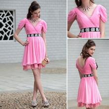 free shipping 2013 new hot pink bridesmaid V-neck lace girls party dresses puff short cap sleeve evening dress Graduation Dress