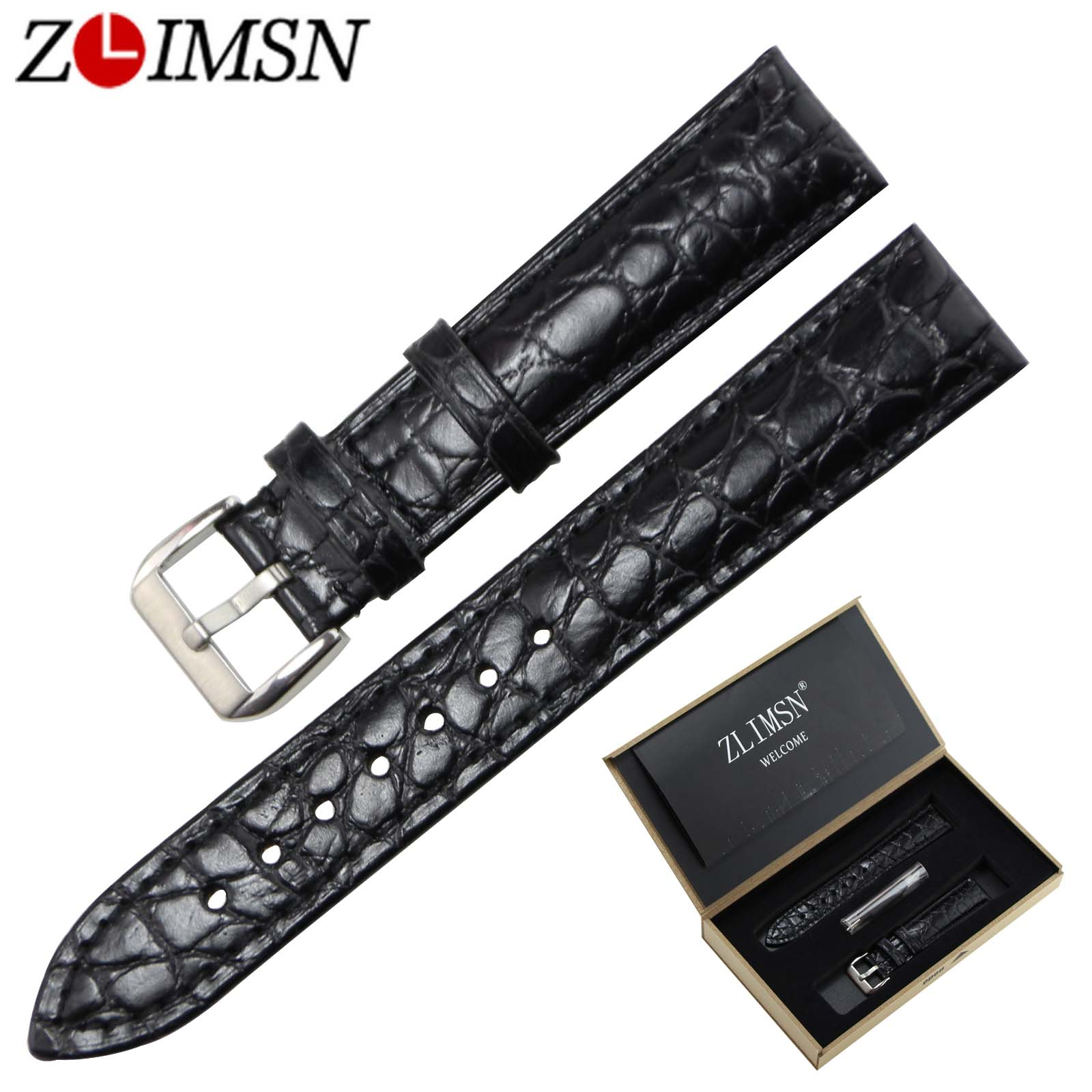 ZLIMSN Top Grade Crocodile Grain Genuine Leather Watchband Strap 18 20mm Brown Black Stainless Steel Buckle Wristwatch Belt top grade vintage calfskin genuine leather watch strap 20mm army green tan dark blue green maroon black watchband with buckle