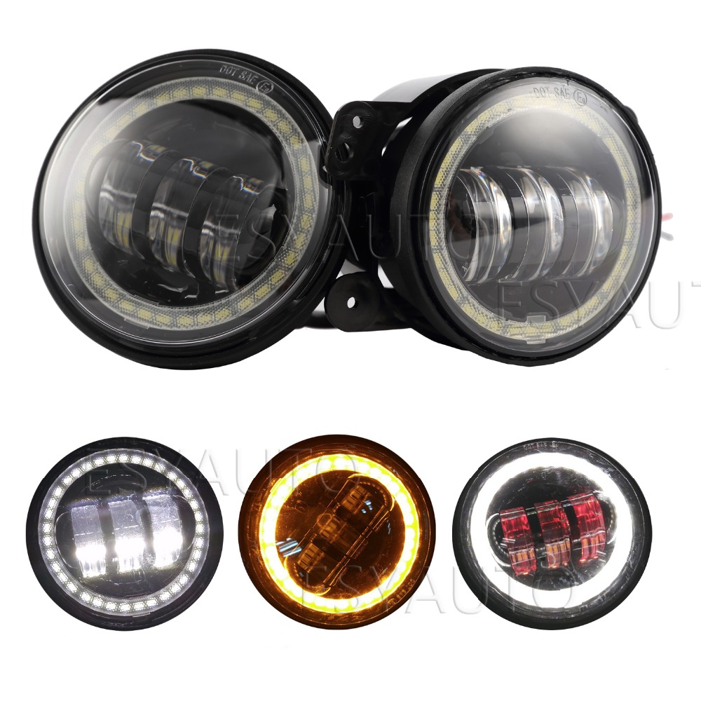 ФОТО 2pcs X 30W LED Fog Light for Harley Daviddson Driving Lights LED Round 4.5inch Motorcycle LED fog Lamps angel eyes demon