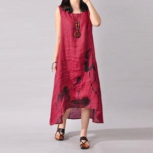 Платье женское летнее с асимметричным подолом, Повседневный Сарафан из хлопка и льна с принтом лотоса и чернил, большие размеры M-4XL