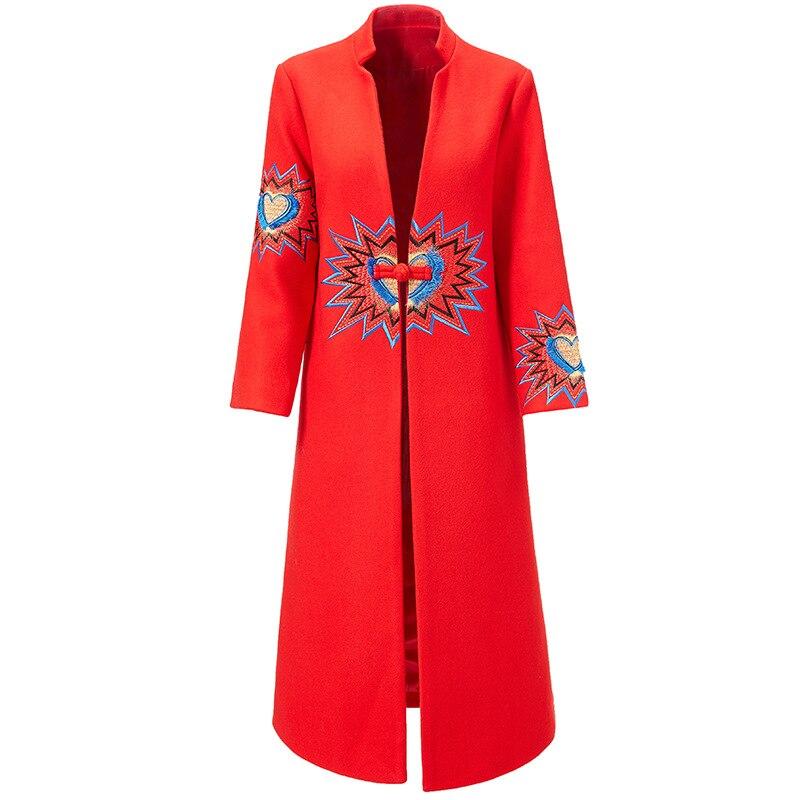 Manteau blanc Unique X Haute Femmes Femelle Col Mandarin Hiver Style Qualité Chinois Bouton Outwear Rouge Élégant Broderie De 2018 long HYqp7