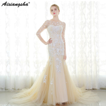 aixiangsha Mermaid Wedding Dress Sweep Train 3/4 Sleeves