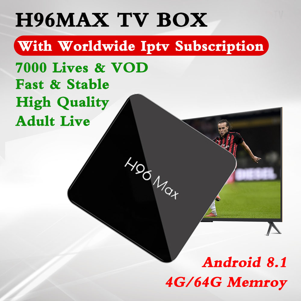 H96Max S905X2 Android 8.1 Smart TV Box 4G/64G BT4.0 With Europe IPTV Dutch UK Scandinavia Portugal Israel Poland Adult 7000 Live-in Set-top Boxes from Consumer Electronics    1