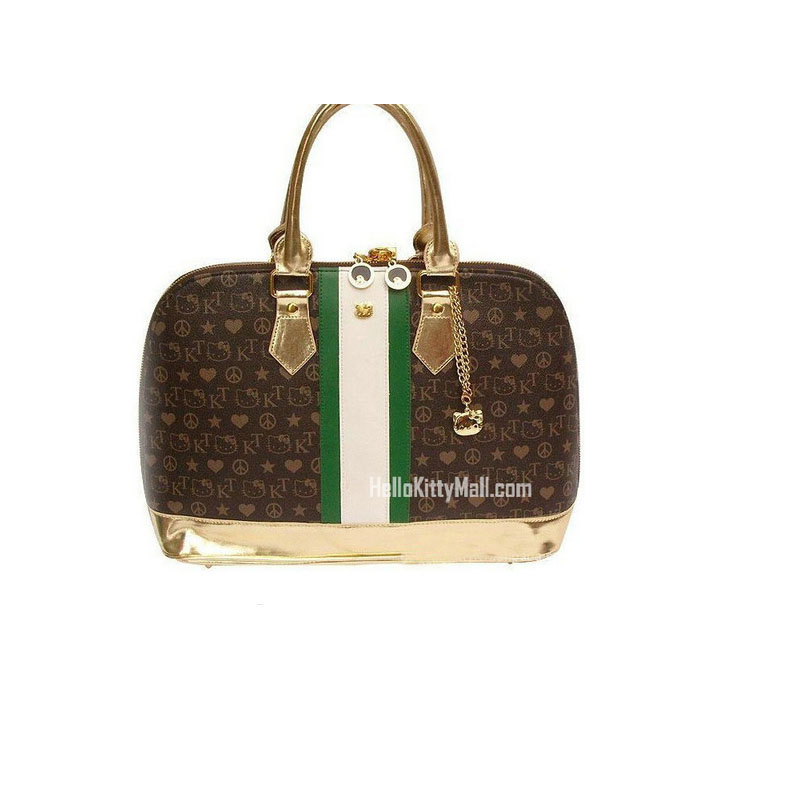 Hello Kitty Limited Edition   Funky Divas Bucket  Handbag With a lock and a zipper brown White and green vertical stripes king divas