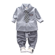 Spring and autumn new 2019 new children's clothing boy children's long-sleeved shirt + pants two-piece  children's suit цены