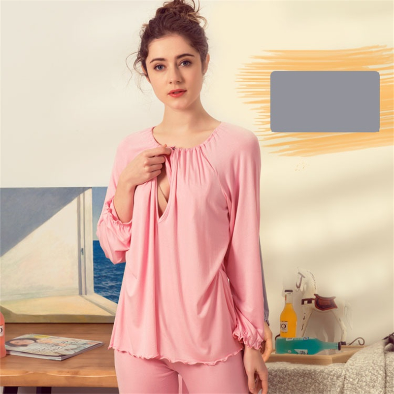 e756fddf4c6af Women Maternity Soft Modal Clothes Suits Shirt+Pants Maternity Breast  Feeding Sleepwear Pregnant Set Nursing Pajamas AA51362-in Sleep & Lounge  from Mother ...