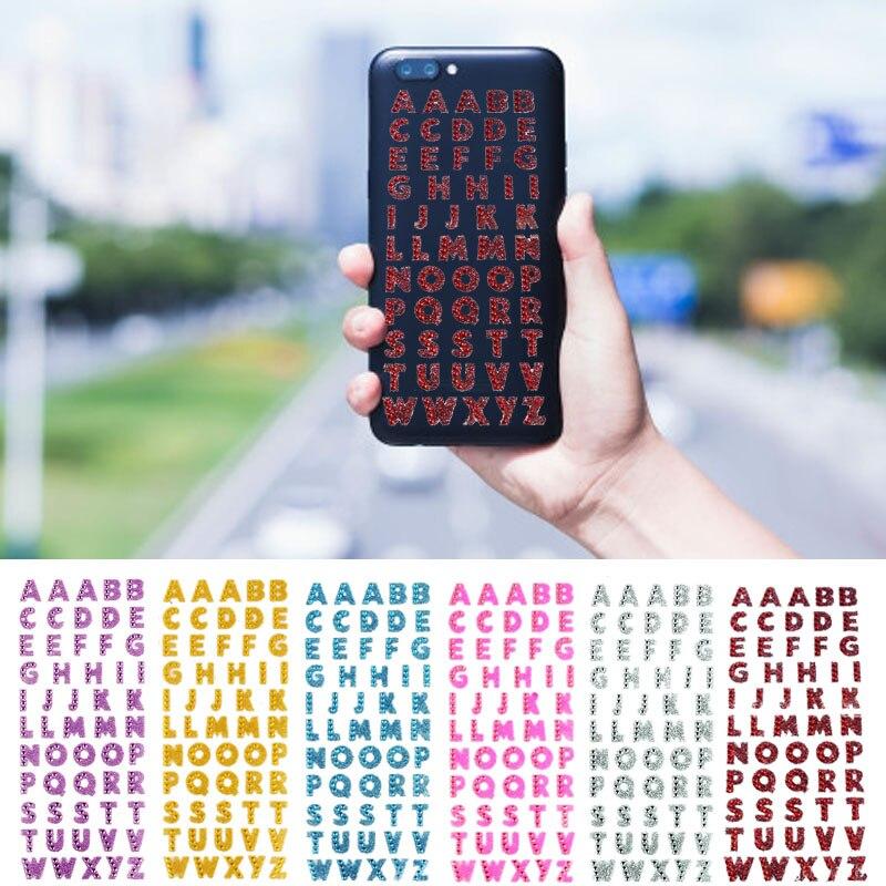1 Pc Hot Fai Da Te Cristalli Glitter A-z Alfabeto Lettera Autoadesivo Del Telefono Adesivi Parole Decor