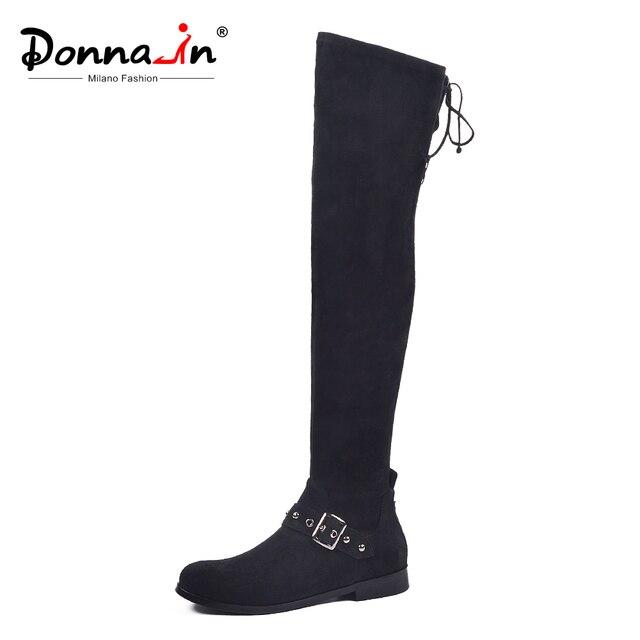 Donna-in/женские высокие сапоги, сапоги выше колена, черные сапоги до бедра с ремнем, стрейч, на шнуровке, модные сапоги на плоской подошве, Осень-зима