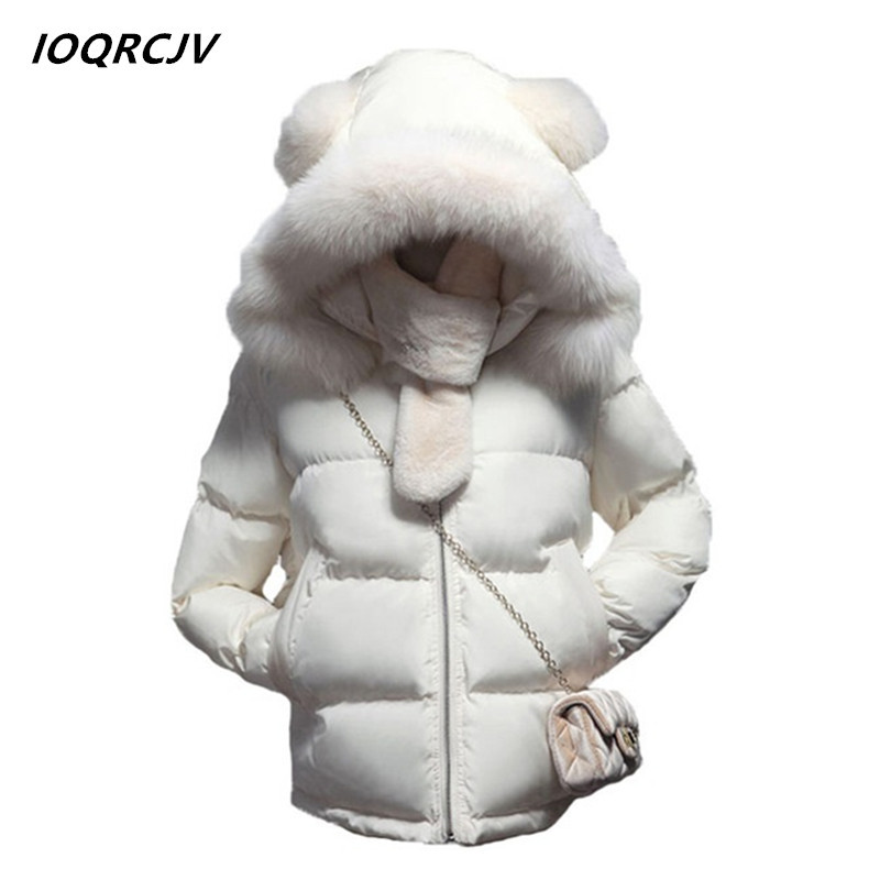 2018 Fur Collar Down   Parka   Cotton Jacket Winter Jacket Women Thick Snow Wear Coat Lady Clothing Female Hood Jackets   Parkas   S19