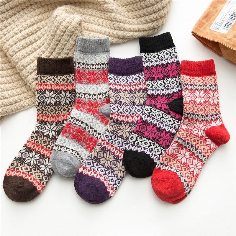 New Winter Women's Thick Warm Wool Socks Harajuku Retro High Quality Fashion Cotton Casual Socks 5 Pairs