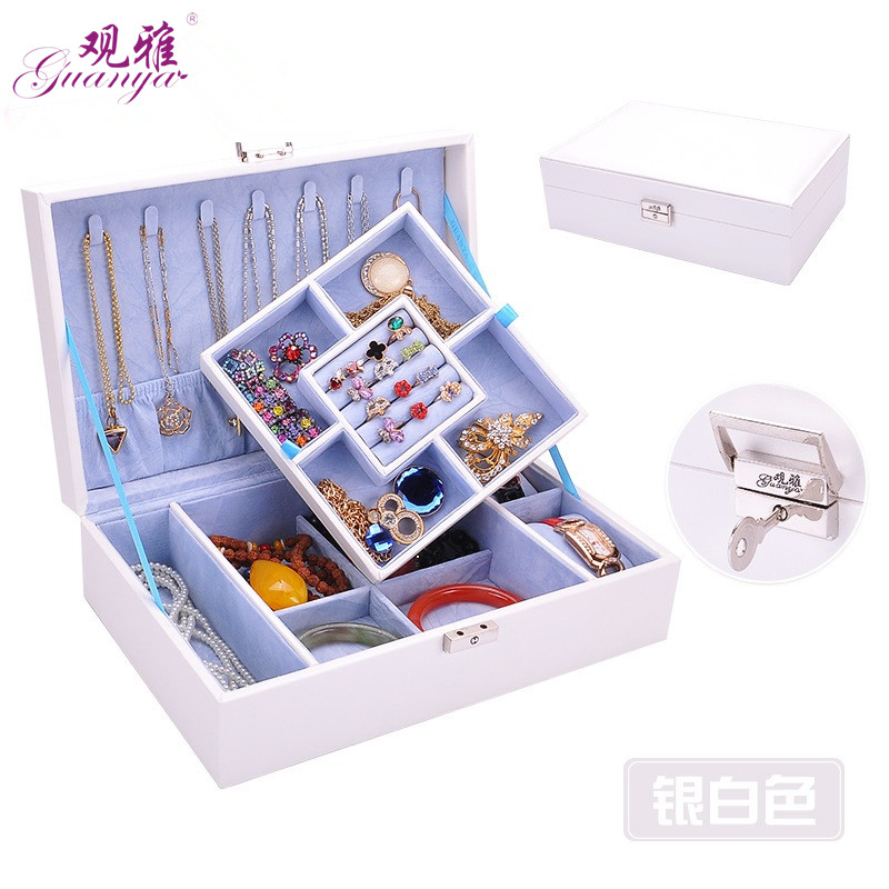 Guanya Brand Leather Jewelry Box Girlfriend Holiday Gift Jiugongge Jewelry Casket Watch box Double Layers Recommended Goods рив гош holiday box 1