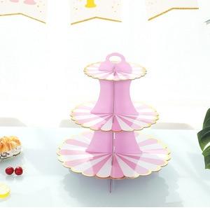 Image 3 - 3 Tier stojak na babeczki papieru stałe paski Cupcake obwolut dekoracje na ślub urodziny przyjęcie świąteczne deser tabela dostaw