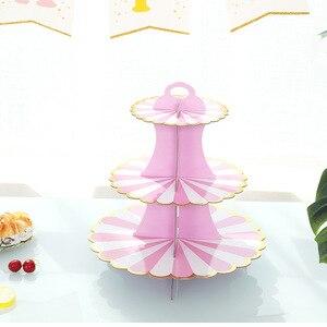 Image 3 - 3 層のカップケーキスタンド紙固体ストライプのカップケーキラッパー装飾結婚式誕生日ホリデーパーティーデザートテーブル用品