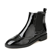 Patent Leather Women Chelsea Ankle Boots 2016 Winter Baroque Carve Black Flat Short Martin Bootie Shoes Brogue Wing Tip Style