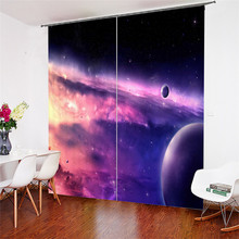 3D Window Curtains Starry Sky Print for Living Room Bedding Home Decor Tapestry Wall Carpet Drapes Cotinas