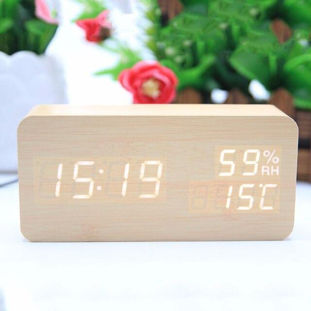 Electronic Digital Alarm Clock Wood Multifunction Classic LED Display Desktop Digital Alarm Clock Bedside Living Room bed #20