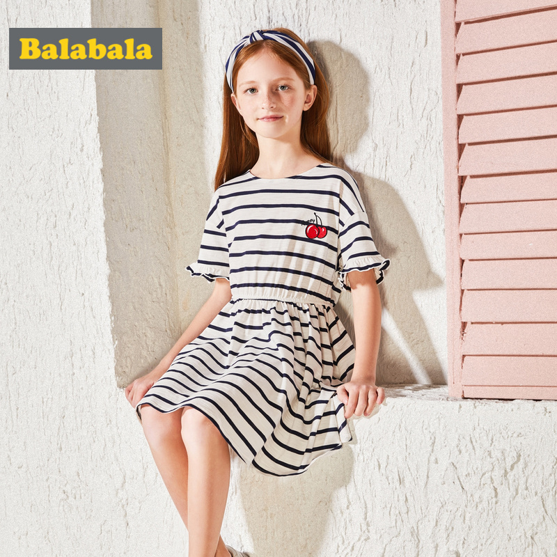 Girls Dress Stripe 8-13 Years Old Girls Short Sleeve Summer Dress All Cotton Casual Dresses For Girls Kids Clothing 4 Colors kids girls birthday dresses infant dress newborn girls baby cotton long sleeve clothing 0 4 years