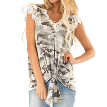 цены на 2019 Summer Elegant V Neck Lace Patchwork Camouflage Lace Up Tee Top Women Clothes Casual Slim Fashion Tees Top Female Shirt  в интернет-магазинах