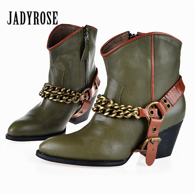 Jady Rose Green Women Ankle Boots High Heel Martin Boot Pointed Toe Chains Decor Genuine Leaather Bota Feminina Women Pumps jady rose vintage brown women genuine leather mid calf boot chunky high heel platform boots straps buckle decor martin botas