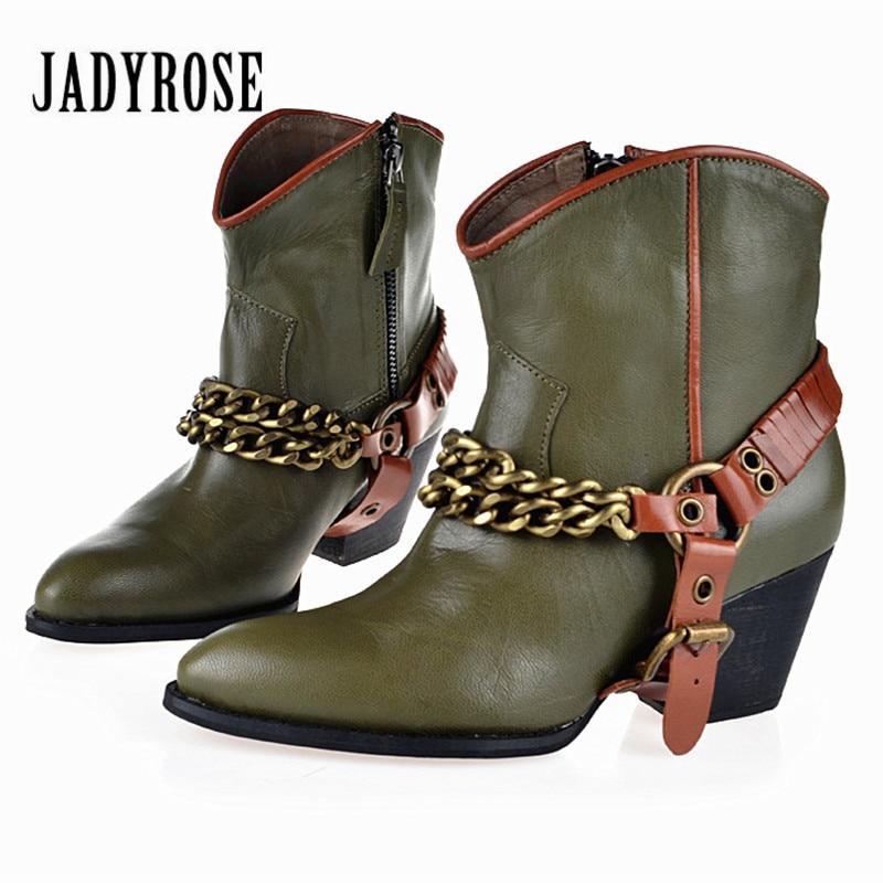 все цены на Jady Rose Green Women Ankle Boots High Heel Martin Boot Pointed Toe Chains Decor Genuine Leaather Bota Feminina Women Pumps онлайн