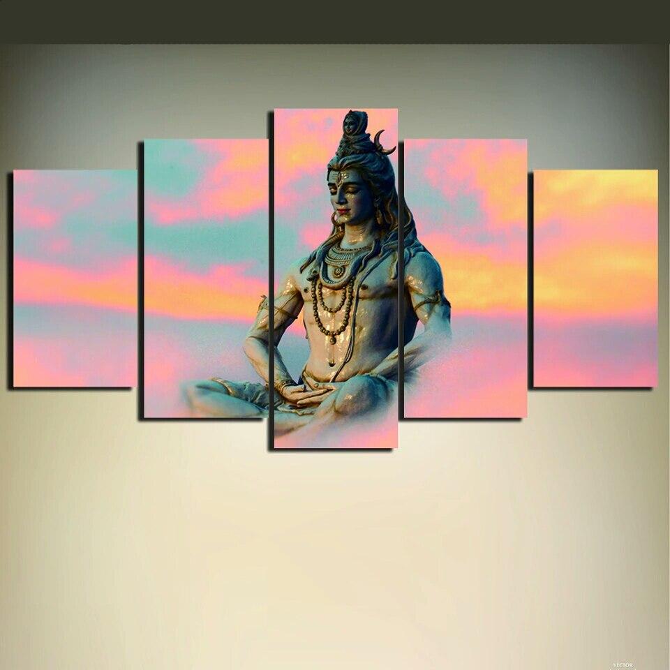 2017 5 Piece Unframed Shiva India Lord Religion Buddha