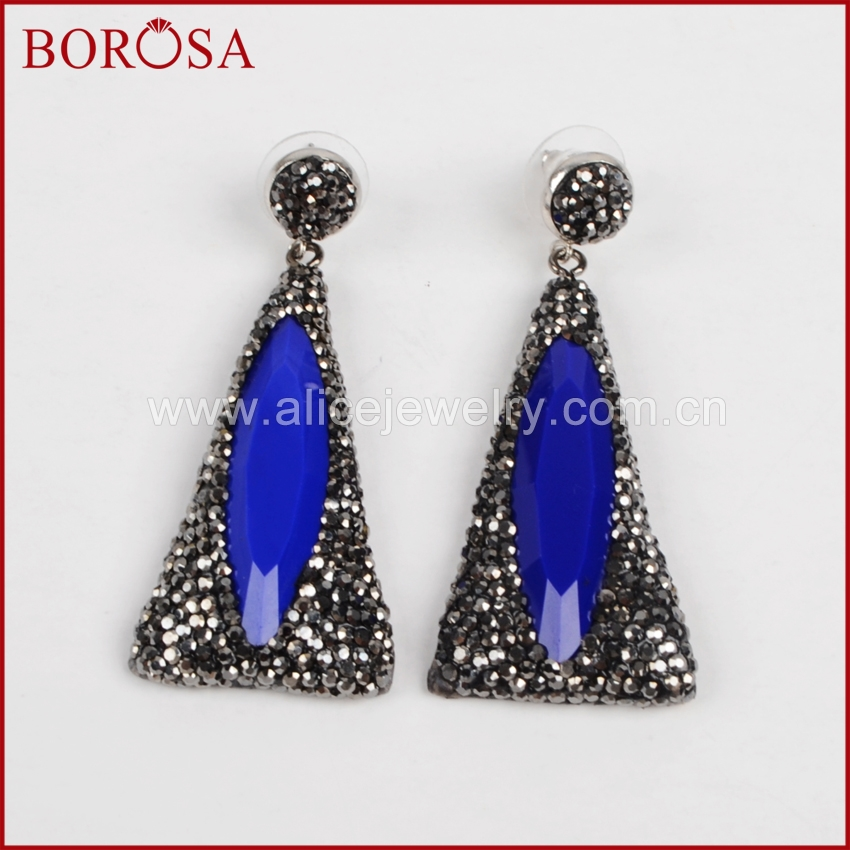 BOROSA New Arrival Rhinestone Paved Triangle Acrylic Drop Earrings for Women Gems Statement Silver Shiny Dangle Earrings JAB558