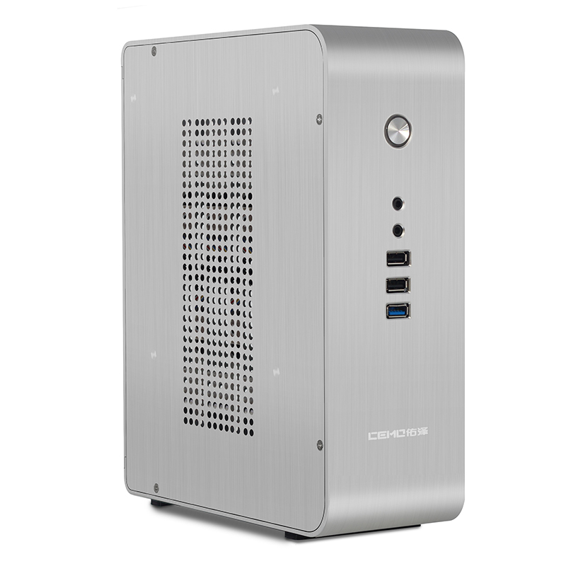 CEMO 9000 desktop computer chassis HTPC living room desktops USB3.0 Mini all aluminum ITX  Computer case realan aluminum mini itx desktop pc case e i7 with power supply cd rom slots black silver