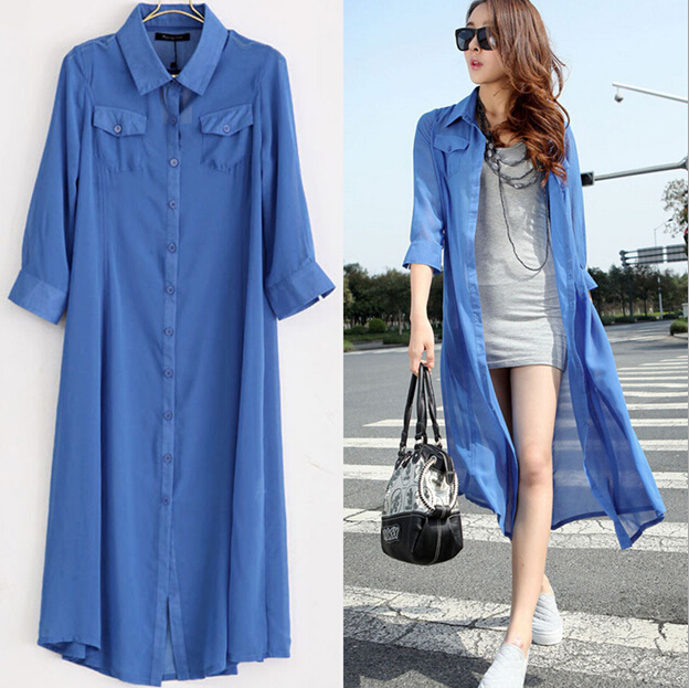 extra long chiffon Cardigan leisure coat 120cm long design casual ...