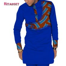 2019 Casual 100% Cotton Mens African Clothing Dashiki Patchwork Print Shirt Tops Bazin Riche Traditional WYN413