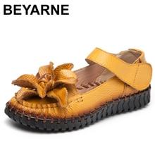 BEYARNE2019 الصيف النساء صنادل أرضية الصنادل الجلدية السيدات أحذية الشاطئ جلد طبيعي الشقق الإناث شقة ShoesE048