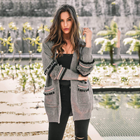 SHIBEVER Thin patchwork cardigan women Casual long spring autumn coat women  sweater fashion plus size tops 01889065e94b