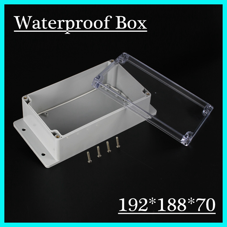 (1 piece/lot) 192*188*70mm Clear ABS Plastic IP65 Waterproof Enclosure PVC Junction Box Electronic Project Instrument Case 65 95 55mm waterproof case