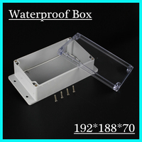 (1 piece/lot) 192*188*70mm Clear ABS Plastic IP65 Waterproof Enclosure PVC Junction Box Electronic Project Instrument Case