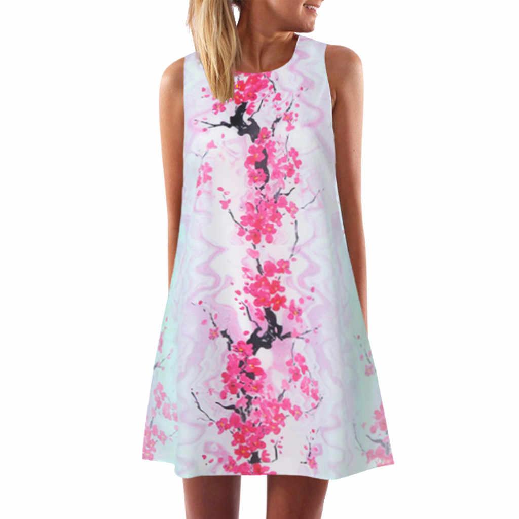Yeni moda kadınlar Boho baskı elbiseler kolsuz Casual plaj kısa elbise Chic gevşek dip mini elbise Dames Jurken # p30