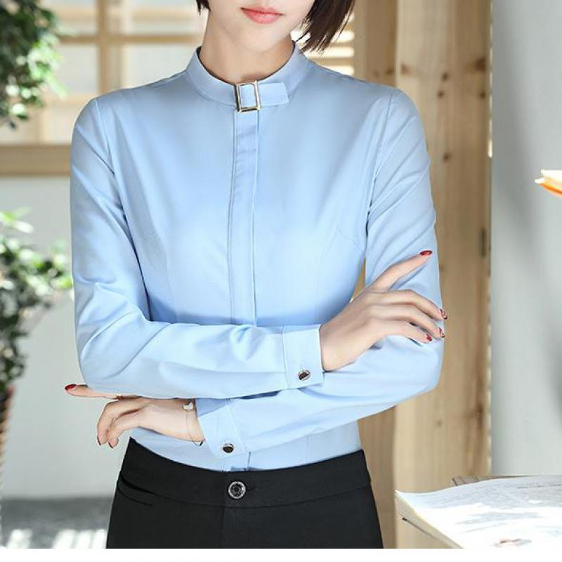 Solid Stand Collar Women Blouses Long Sleeve Causal Business Shirt Simple Design Ladies Office Shirt Slim S-4XL Blusas 2017