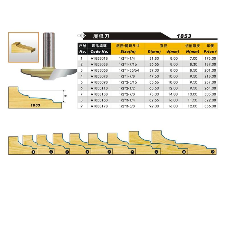 Punta per router Arc Arden per strati di legno - 1/2 * 1 -7/16 x - Macchine utensili e accessori - Fotografia 2
