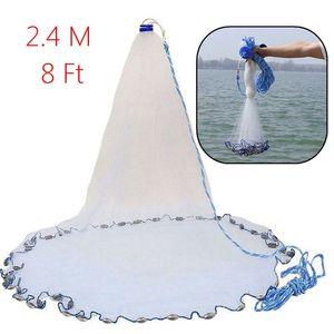 Image 5 - 8Ft 2.4 メートル漁網餌簡単スローハンドキャスト 3/4 インチの強力なナイロンメッシュ + シンカー