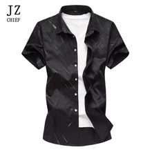 40c536a27c9f JZ CHIEF Office Short Sleeve Shirt For Men 2018 Blouse Striped Casual  Summer Shirts Business Slim Fit Shirt Big Size Work Wear