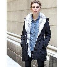2017 women down warm long gift coat jacket parka zipper fashion new winter outerwear rabbit fur collar new plus size thick