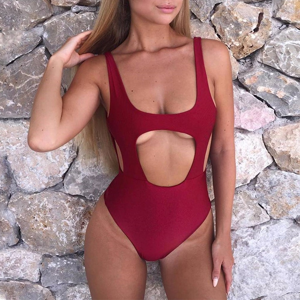 Amicable One Piece Women Sexy Solid Hollow Out Swimwear Backless Bandage Push-up Padded Swimsuit Maillot De Bain Biquines Ma23 Camis Women's Clothing
