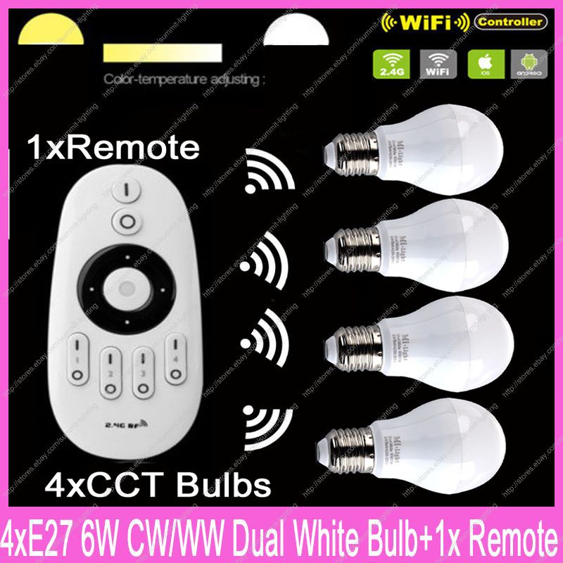 4x E27 Mi.Light 6W Color Temperature Adjustable Dual White CW/WW CCT WiiFi Compatible LED Bulb AC85-265V+1x 2.4G Wireless Remote купить