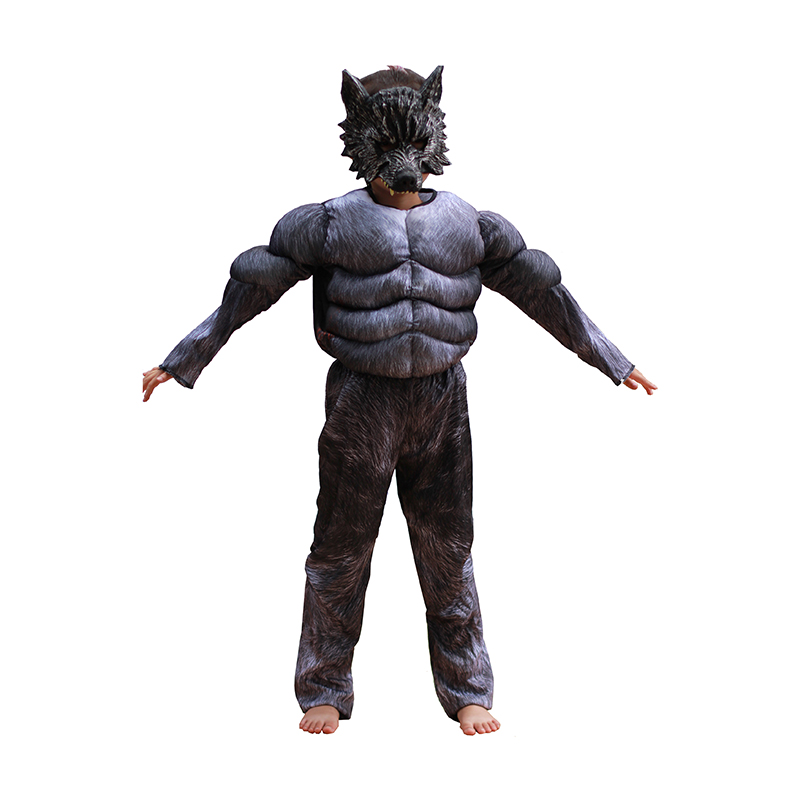 Kids Halloween Cosplay Costumes Wolf Suits Children School Performance Clothing Props Muscle Werewolf Cosplay Clothes Kids Gifts